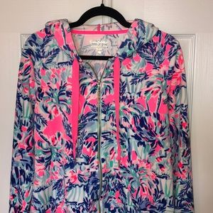 Lilly Pulitzer velour zip hoodie cabana cocktail L